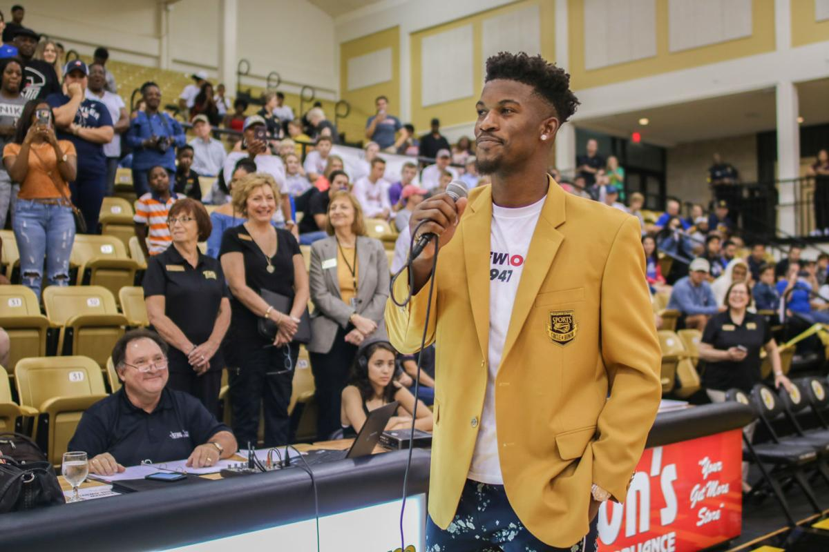 09092018 Jimmy Butler Scholarship Shootout Web 8 NBA All Star Gives A Speech To The Crowd During TJC