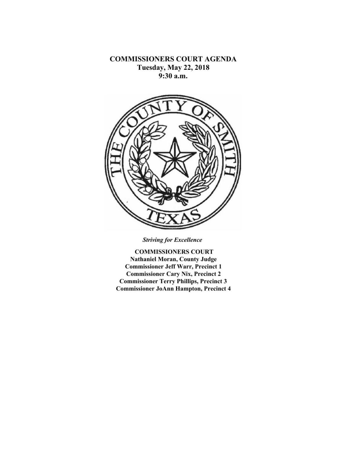 Smith County Commissioners Court Agenda - May 22, 2018