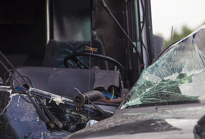 2 dead, 36 hurt after bus hits fire truck, more vehicles