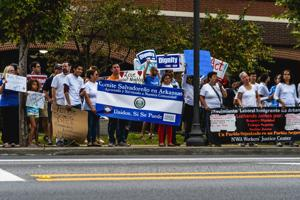 """<p dir=""""ltr"""">Protesters call for support of the Deferred Action for Childhood Arrivals program, which protects eligible young immigrants from deportation, in front of the Washington County Courthouse on Sept. 17, 2017.</p><p dir=""""ltr""""></p>"""