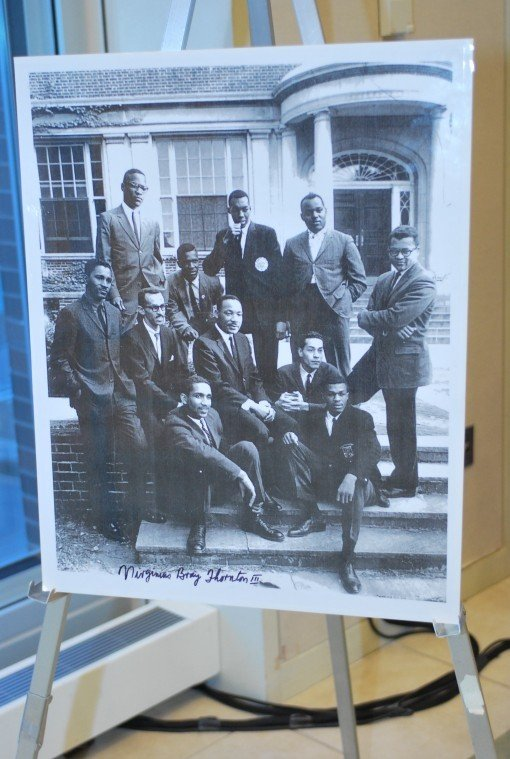 Dr. Martin Luther King Jr (middle of photo) with Dr. Virginius Thornton (far left of photo).