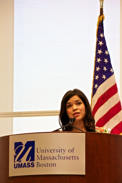 Speaking to the crowd about a range of topics, America Ferrera woos the crowd.