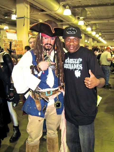 """Captain Jack Sparrow and the author, one of the more popular characters during """"cosplay"""""""