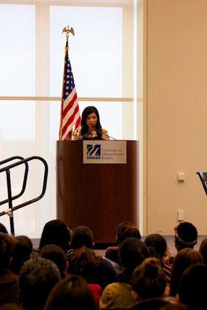 A Los Angeles native, Ferrera came to speak at UMass Boston to kick off the Women's Leadership Initiative on campus.