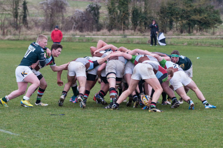 A Rugby Scrum In Action
