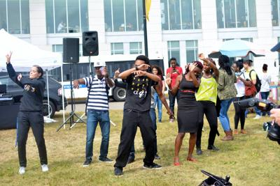 Students danced at the free BBQ on Thursday