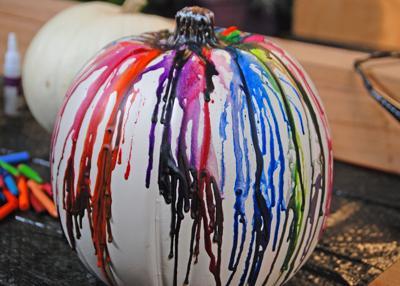 Crayon-dripped pumpkin