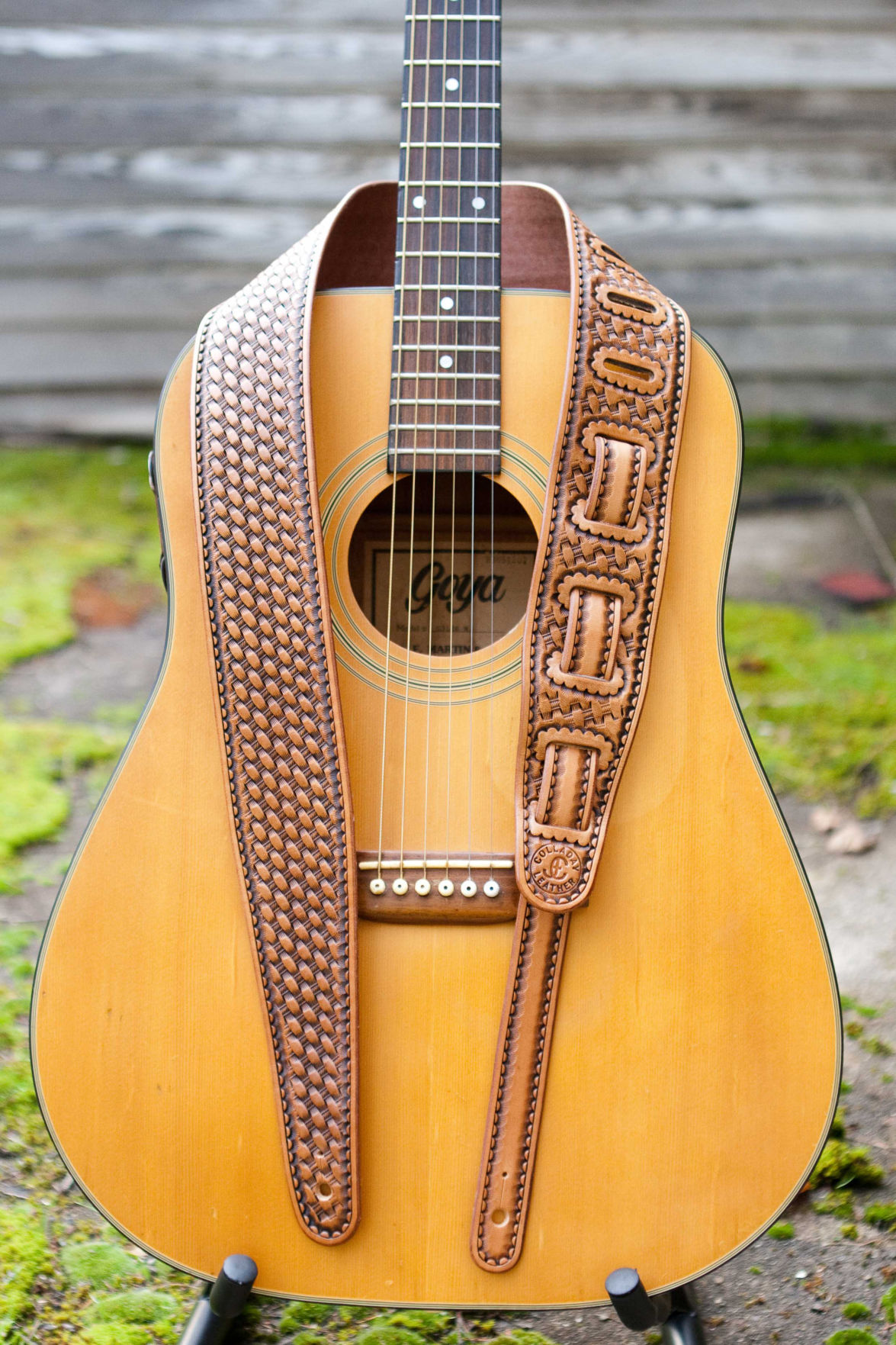 190228 WENAHA Colladay Leather Basket Stamp Guitar Strap by Jeremiah Colladay:photo by ERIN COLLADAY.jpg