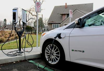 Electric vehicle charging station at Whitman College