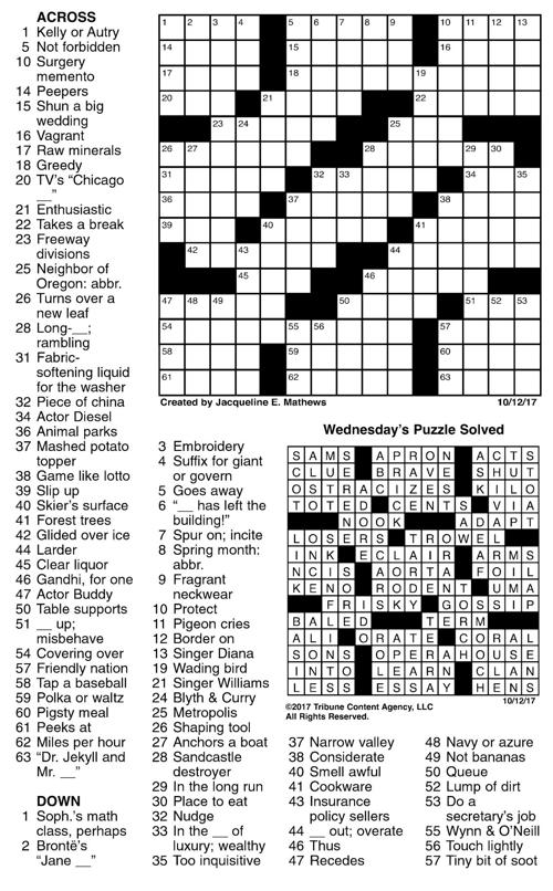 want ad letters crossword october 12 crossword crosswords union bulletin 25467 | 59c54eb41ba7a.image
