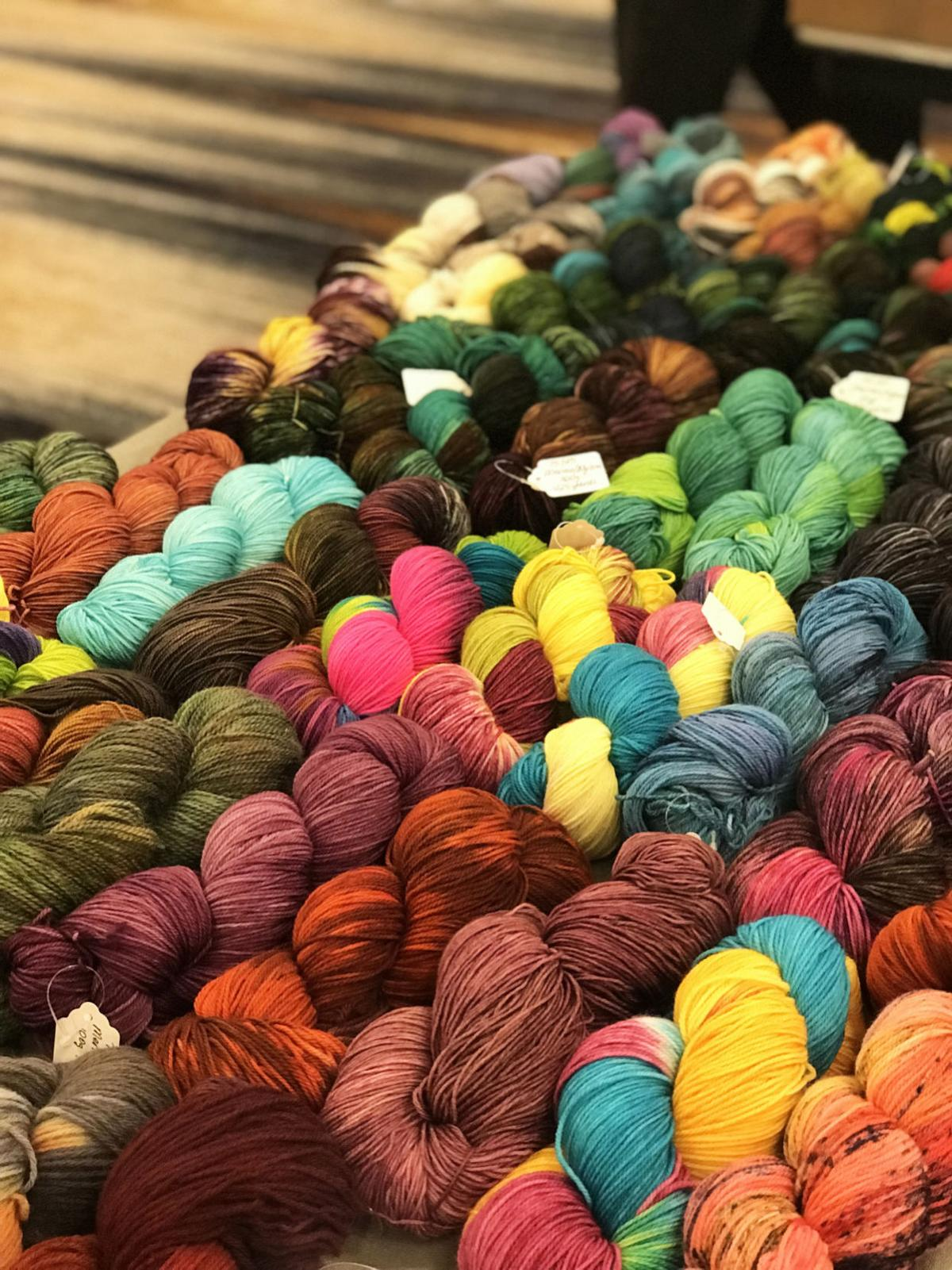 Rows of hand dyed yard