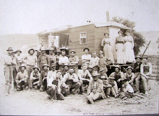 Atkinson threshing crew & cook wagon.JPG