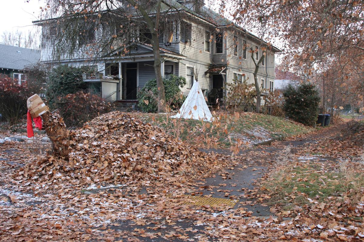 Pile of leaves sculpted into a turkey