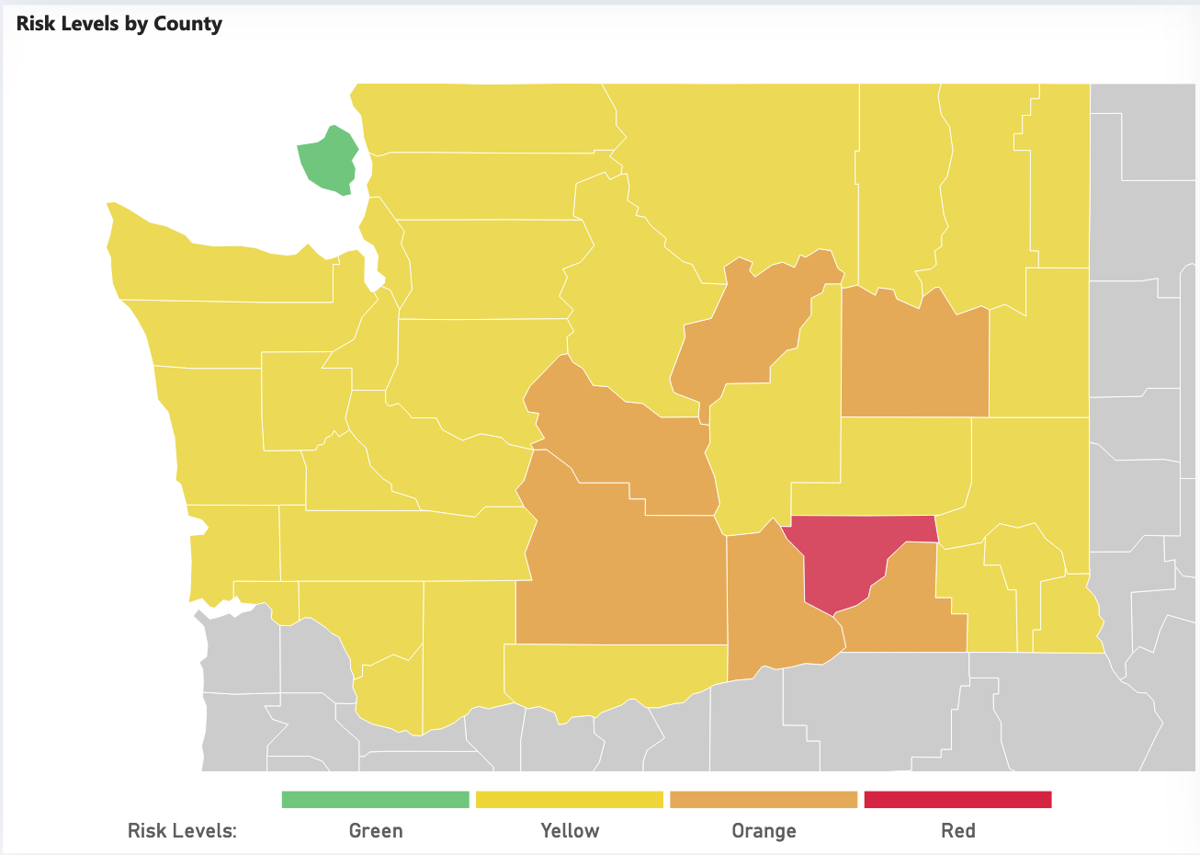 COVID-19 risk levels by county