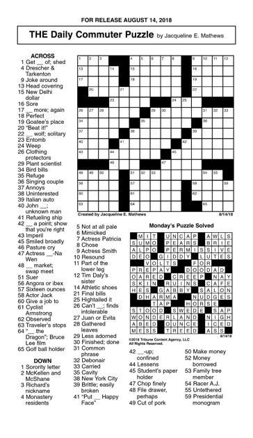 August 14 Crosswordjpg Crosswords Union Bulletincom