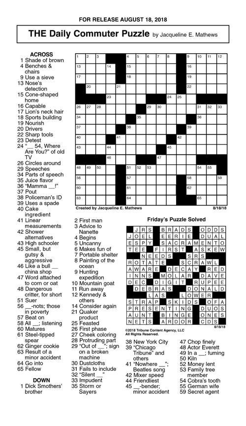 August 18 19 Crosswordjpg Crosswords Union Bulletincom