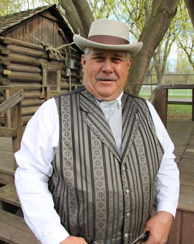 Charles Saranto as pioneer blacksmith and builder Fred Stine