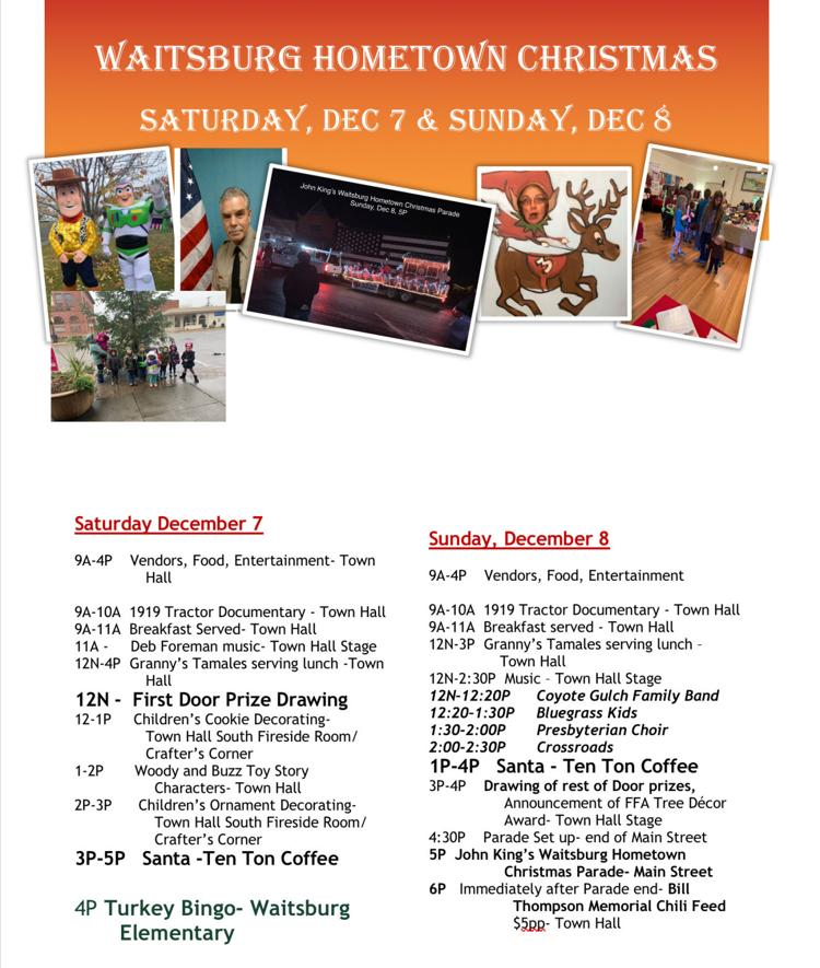 Schedule of events at Waitsburg Hometown Christmas Celebration