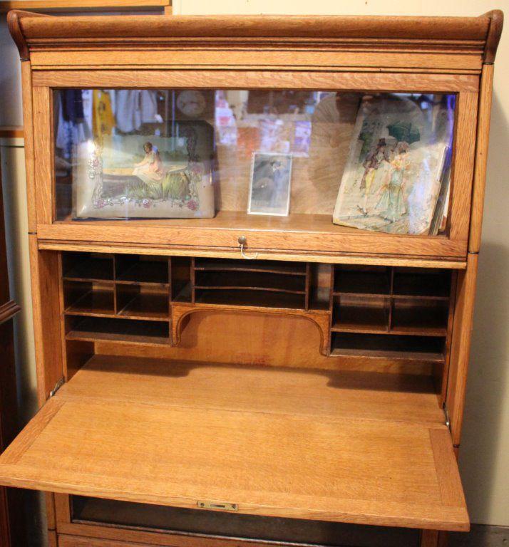 Bookcase with desk unit open