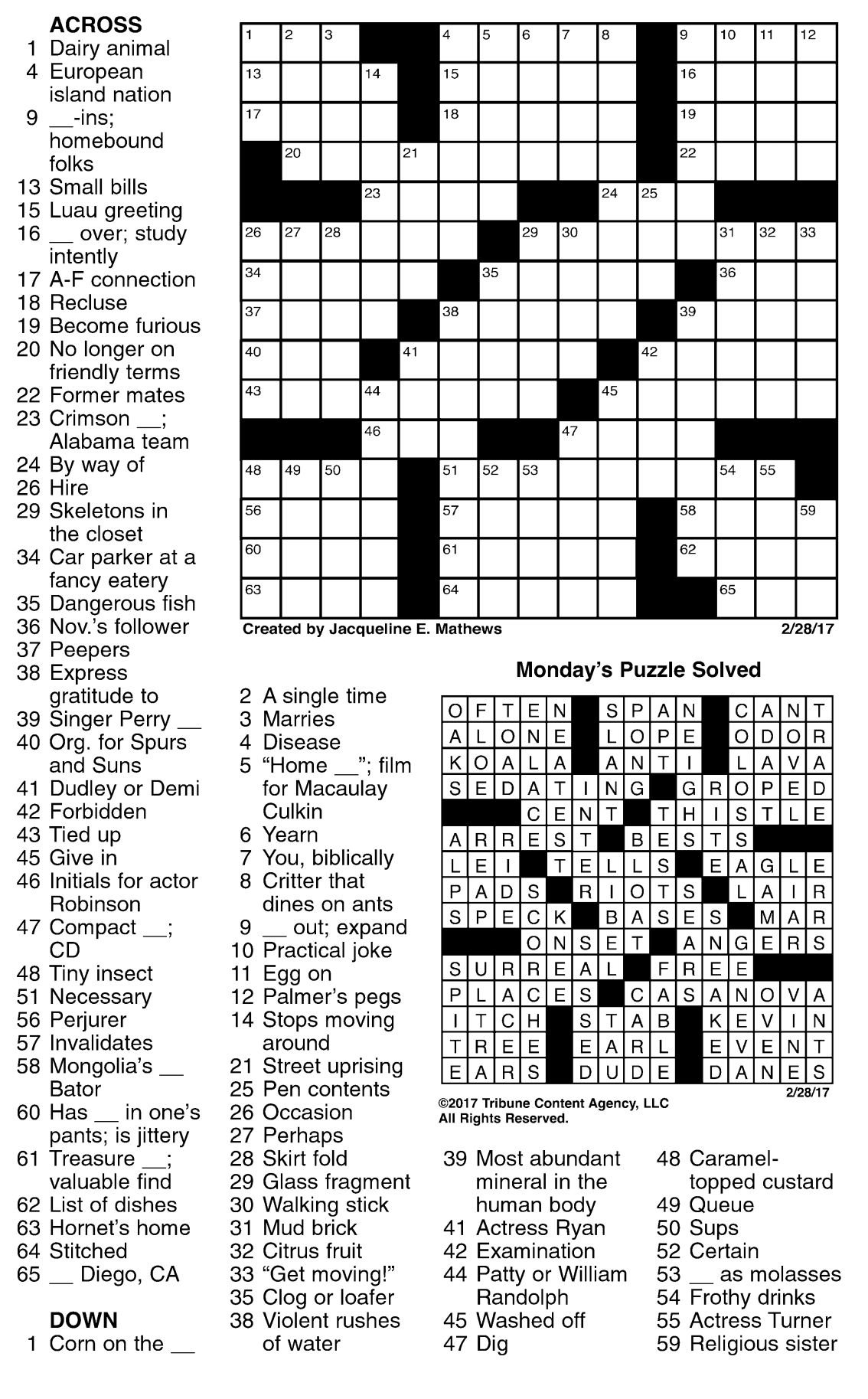 This is a photo of Sassy Free Daily Crossword Puzzles Printable