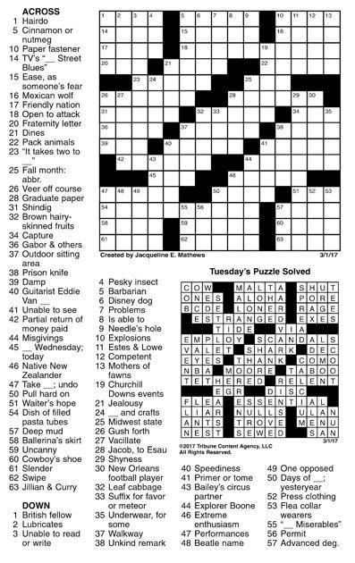 March 1 crossword   Crosswords   union-bulletin com