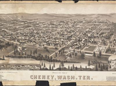 Cheney bird's-eye view map