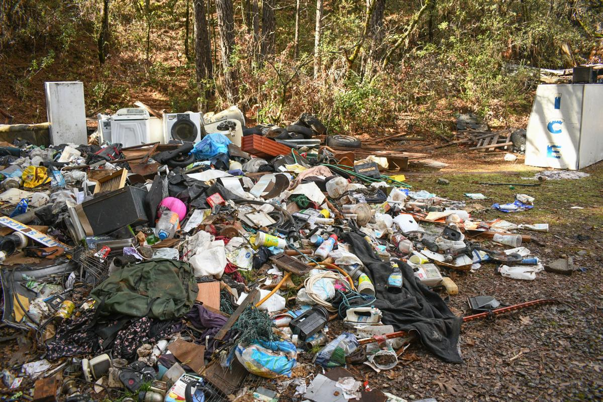 Trash pile on Woods Creek Way off Yankee Hill Road