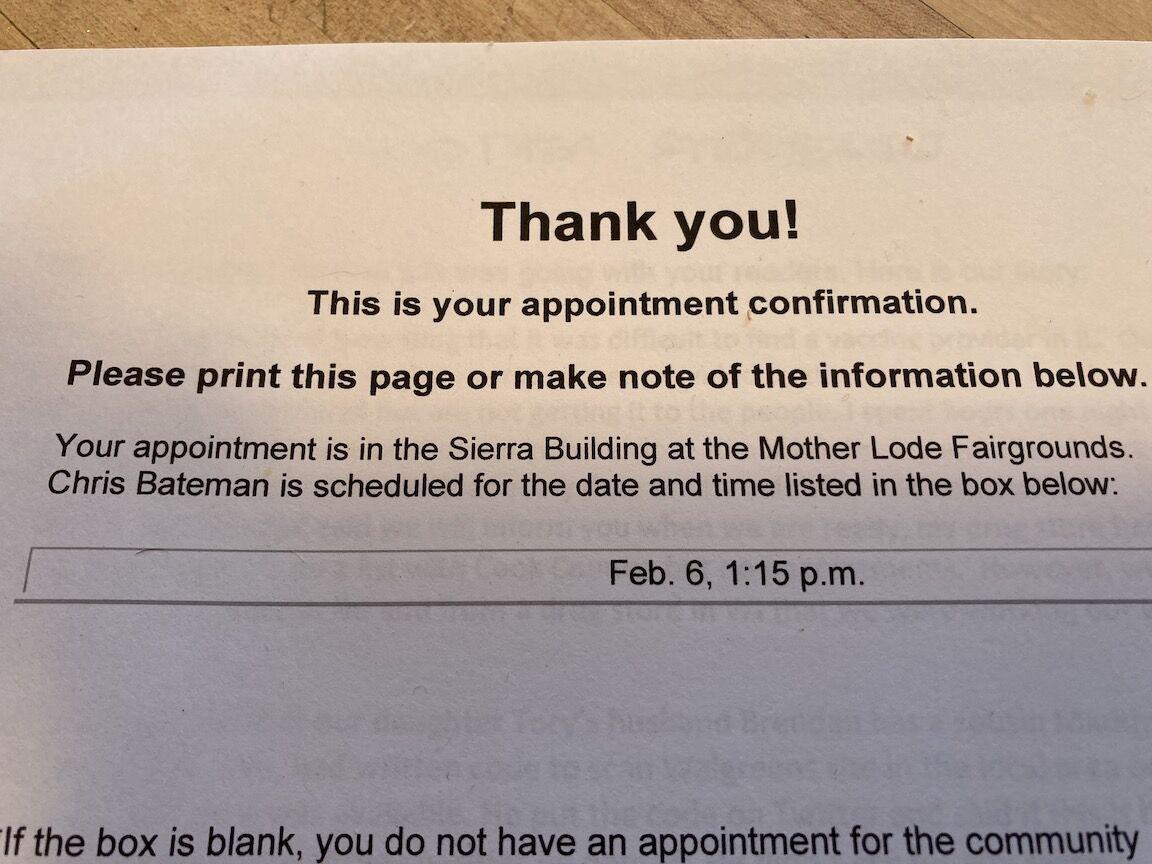Bateman vaccine appointment