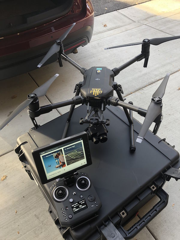 THCSD thermal imaging drone for Twain Harte firefighting