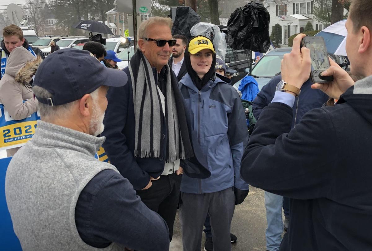 Actor Kevin Costner stumps for Pete Buttigieg