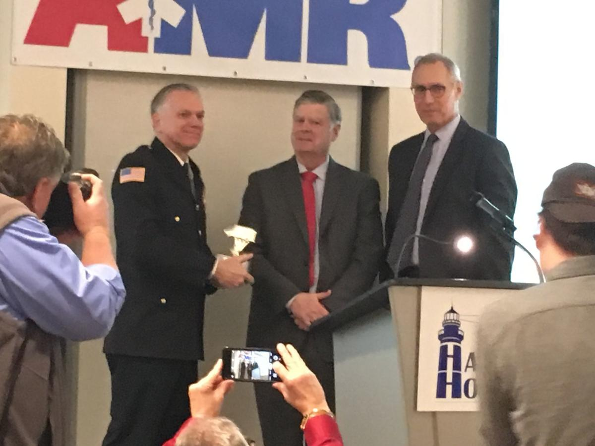 Chris Stawacz honored at first responders breakfast in Nashua