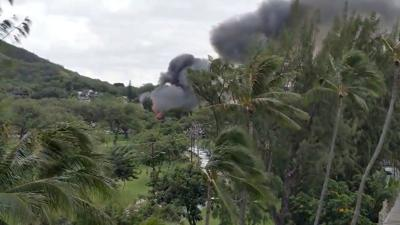 Smoke billowing from a fire at Kapi'Olani park