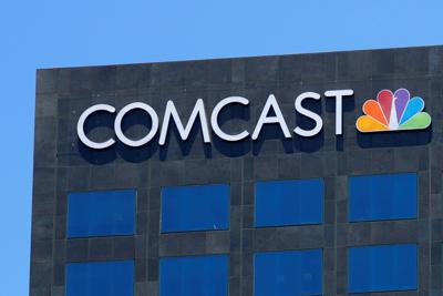 The Comcast NBC logo is shown on a building in Los Angeles