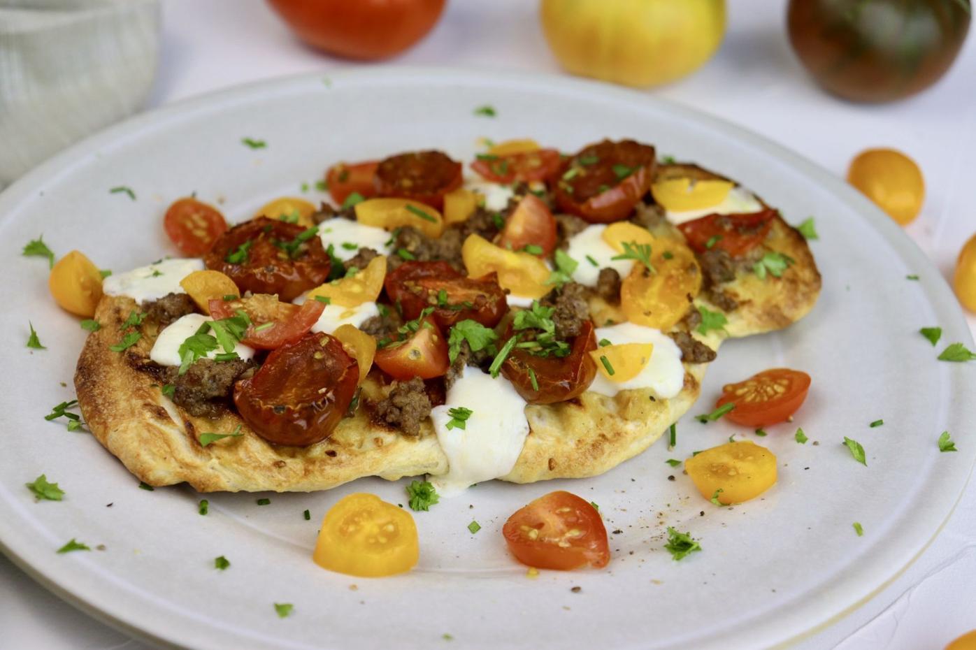 Tomato, Ground Beef and Mozzarella Flatbread