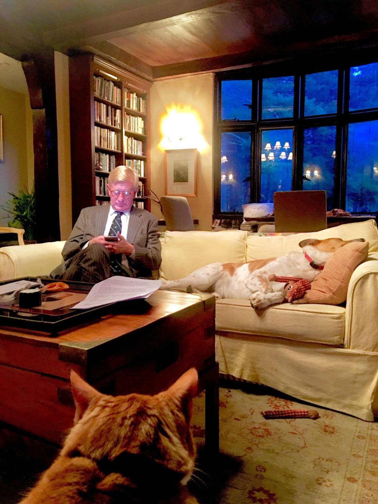 William Weld with his dog and cat