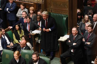 Britain's House Speaker Bercow stands ahead of 'Super Saturday' Brexit deal vote in London