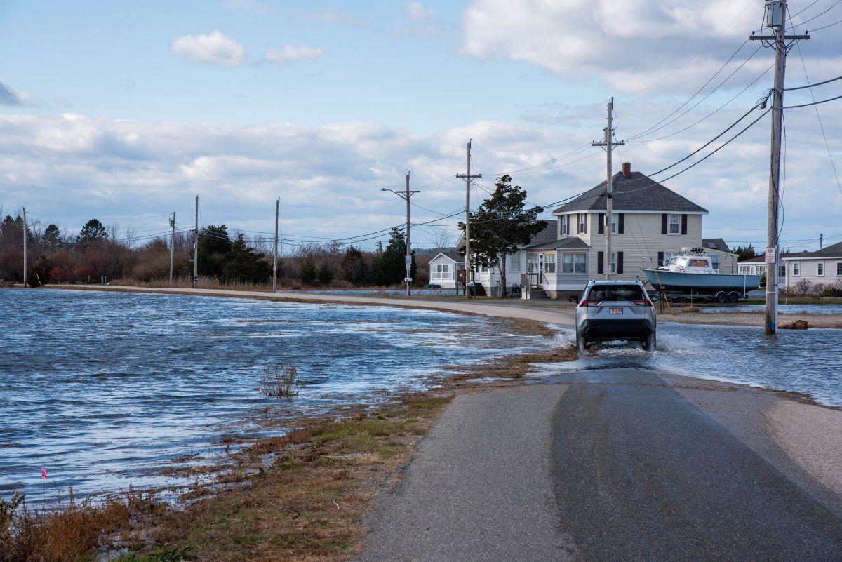 Flooded road in Hampton