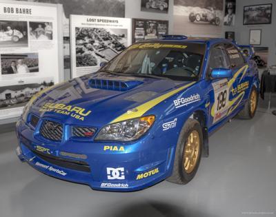 Subaru rally car has winning ties