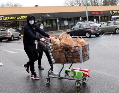Masked shoppers