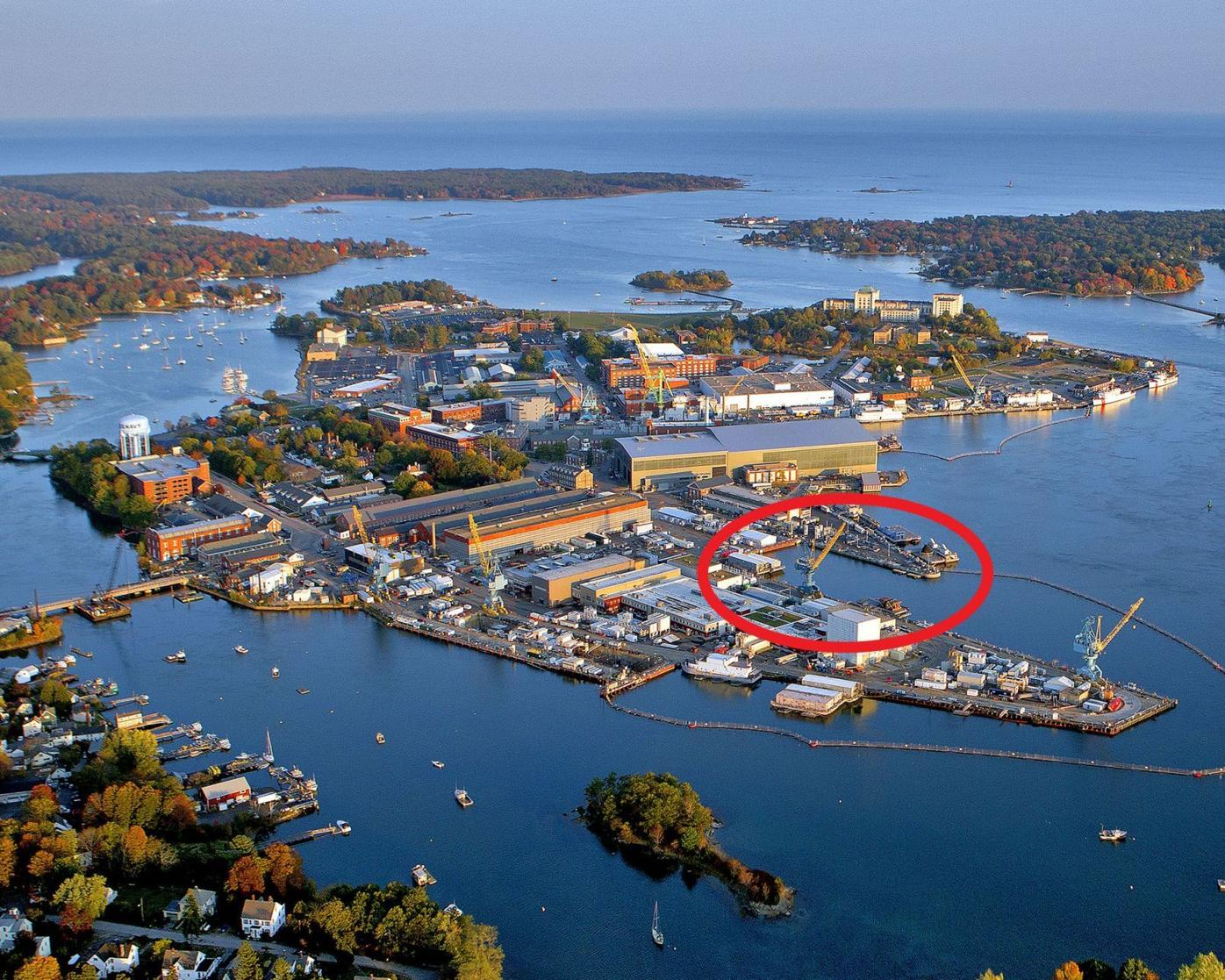 Aerial view of Portsmouth Naval Shipyard