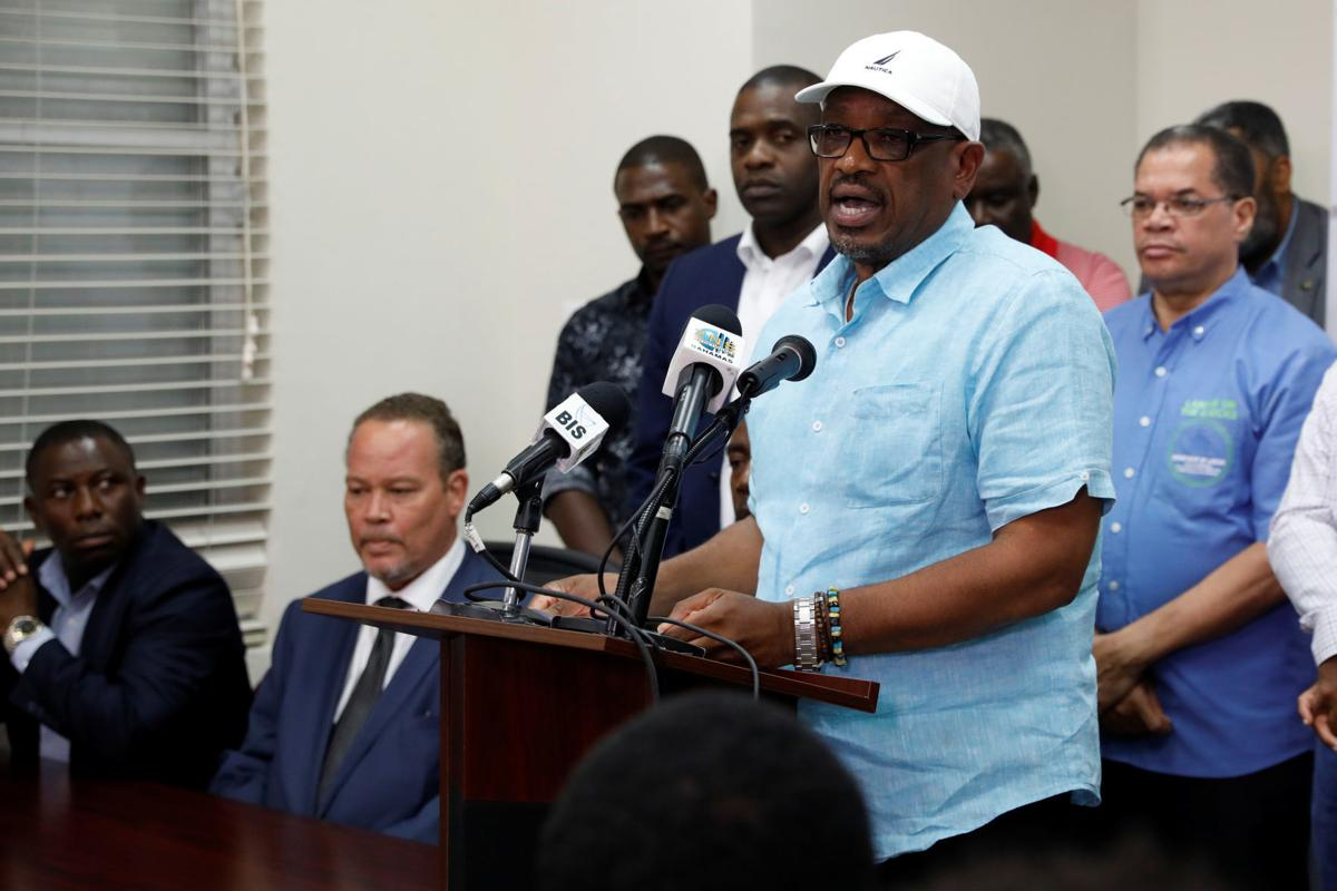 Bahamas PM Minnis talks to the media during a news conference in Nassau