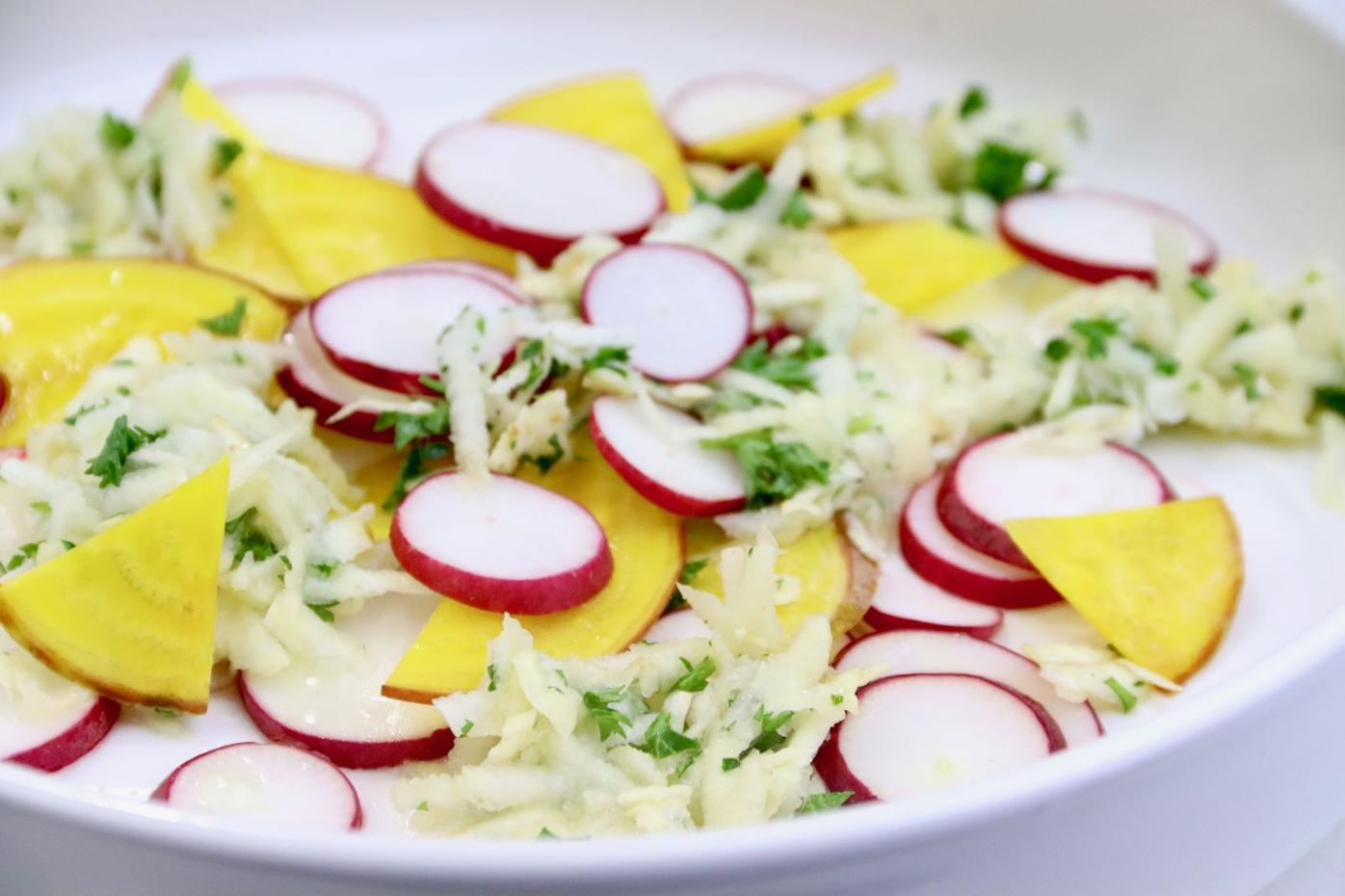 Grated Celery Root Salad with Golden Beets and Radishes