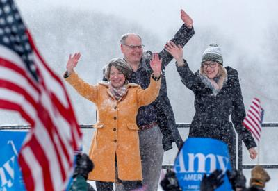 U.S. Senator Klobuchar waves following announcement of candidacy in Minneapolis