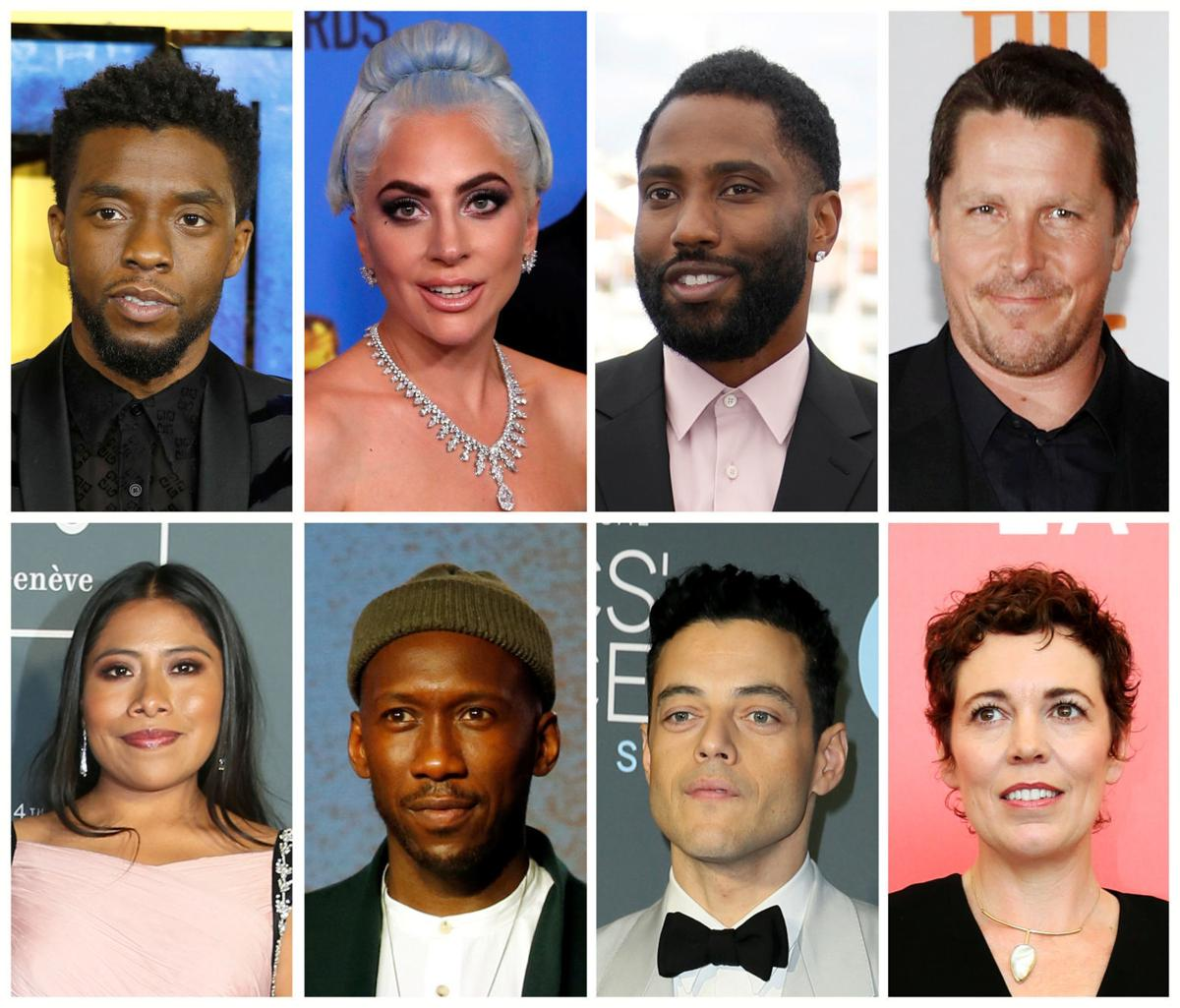 "Best picture Oscar nominees for the 91st Academy Awards (Top L-R) Boseman ""Black Panther"", Gaga ""A Star is Born"", Washington ""BlacKkKlansman"", Bale ""Vice"", (Bottom L-R), Aparicio ""Roma"", Ali ""Green Book"", Malek ""Bohemain Rhapsody"", Colman ""The Favourite\"