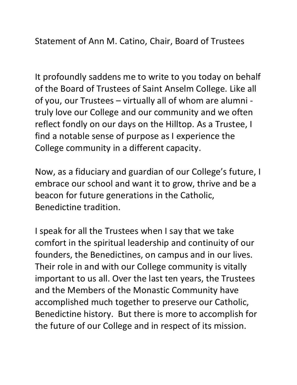 Trustee letter