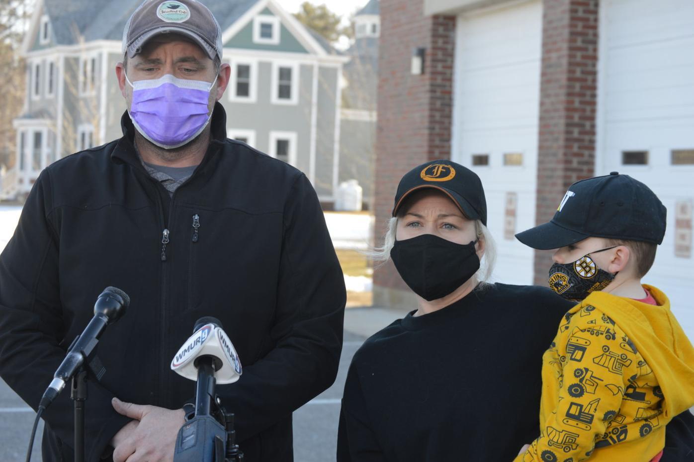Kingston Fire Chief Graham Pellerin, his wife, Samantha, and their son, Gunner