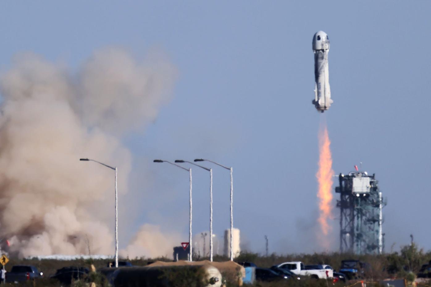 Blue Origin New Shepard rocket blasts off carrying Star Trek actor William Shatner on suborbital flight