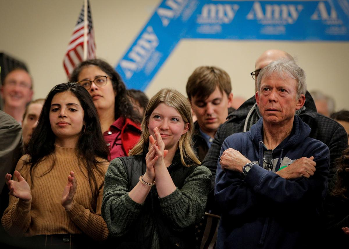Supporters watch as Democratic 2020 U.S. presidential candidate Senator Amy Klobuchar speaks during a campaign event in Salem, New Hampshire