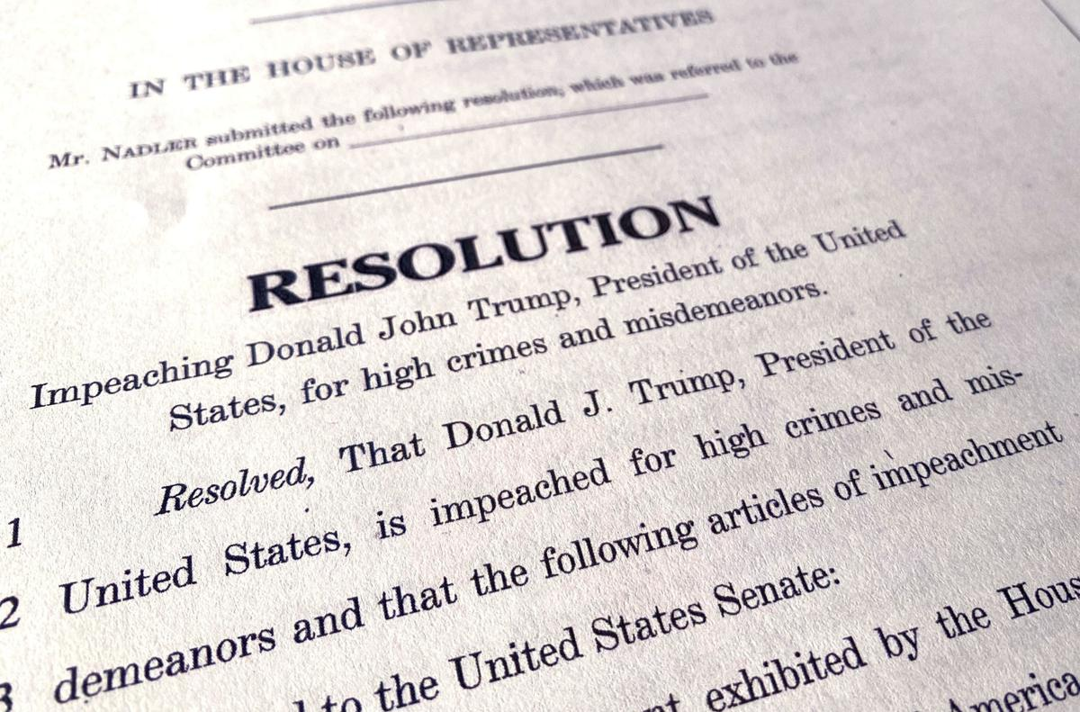 A draft of the Democrats House of Representatives articles of impeachment are seen after their release in Washington