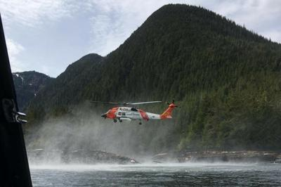 U.S. Coast Guard searches for survivors from downed aircraft in the vicinity of George Inlet near Ketchikan Alaska